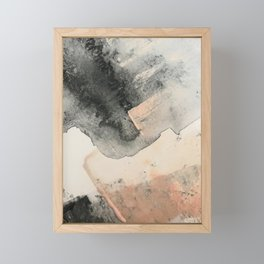 Peace and Quiet [2]: a pretty, minimal abstract piece in gray and peach by Alyssa Hamilton Art Framed Mini Art Print