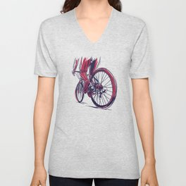 Muscular cyclist drawing bicycle racing sport gift Unisex V-Neck