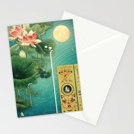 Chinese Lotus Full Moon Garden :: Fine Art Collage Stationery Cards