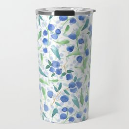 Watercolor Blueberries Travel Mug