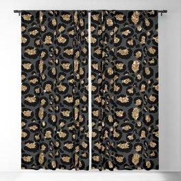 Black Gold Leopard Print Pattern Blackout Curtain