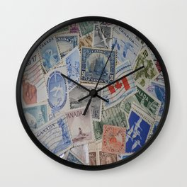 Canadian Pride Vintage Postage Stamp Collection From Canada Wall Clock
