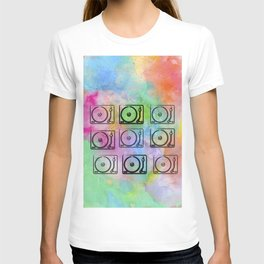 record players over watercolor T-shirt
