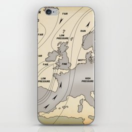 British Isles vintage weather map poster iPhone Skin