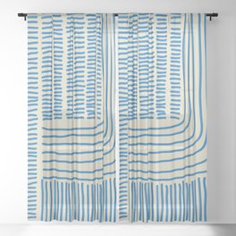 Digital Stitches thick beige + blue Sheer Curtain
