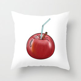 red Apple and a cocktail straw Throw Pillow