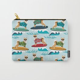 shiba inu surfing dog breed pattern Carry-All Pouch