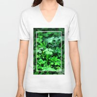 clover V-neck T-shirts featuring Clover Stay by Julie Maxwell