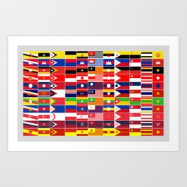 Asean countries flags in the style of each other Art Print