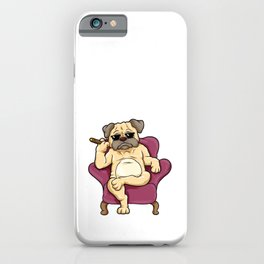 Pug with sunglasses and cigar iPhone Case