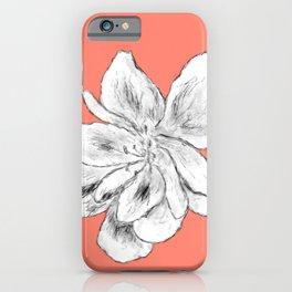 Sketchy Malva Flower Drawing (orange back) iPhone Case