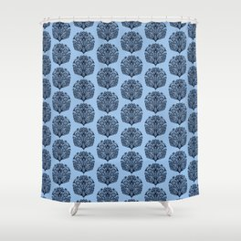 Indigo blue flower motif Japanese style. Shower Curtain