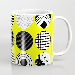 Eclectic Geometric - Black, white and yellow Coffee Mug