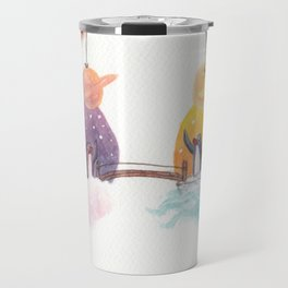 Penguins and their Bridge Between Sky Castle and Igloo with Ocean Travel Mug