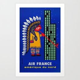 Amerique Du Nord - Vintage Air France Travel Poster Art Print