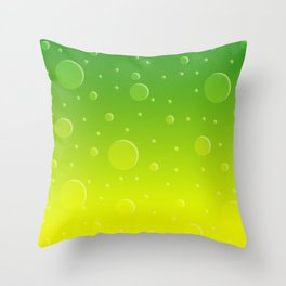 Lemon Lime Soda Ombre with Bubbles Throw Pillow