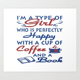 Girl with a cup of coffee and a book Art Print
