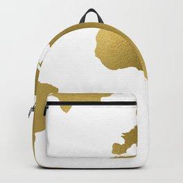 Gold Foil Map - Metallic Globe Design Backpack
