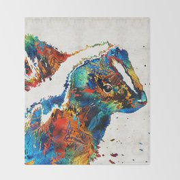 Colorful Skunk Art - Dee Stinktive - By Sharon Cummings Throw Blanket