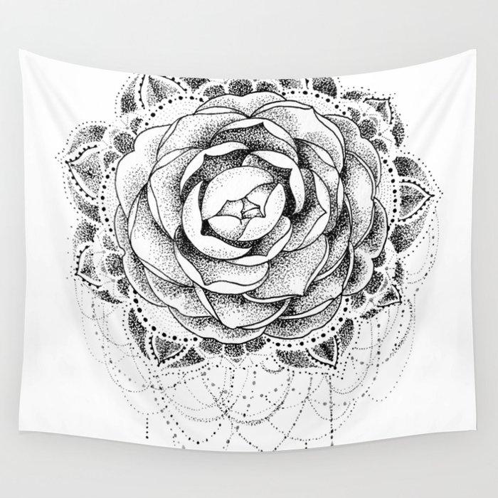 1f03d5064 Camellia Dotwork Mandala Wall Tapestry by robinelizabethart | Society6