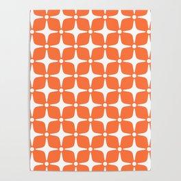 Mid Century Modern Star Pattern Orange 2 Poster
