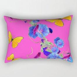Fuchsia Pink Golden Butterflies Blue Morning Glory Rectangular Pillow