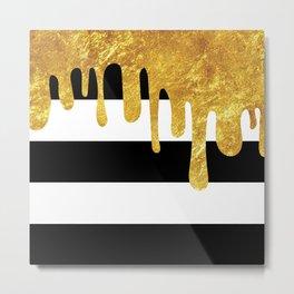 Gold Drips Metal Print