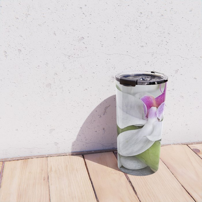 white Orchid flower  and green Bamboo still life Travel Mug