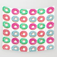 donuts Wall Tapestries featuring donuts by katelyndee