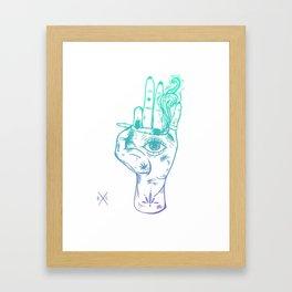 Third Eye Hand - Teal To Purple Color Palette Framed Art Print