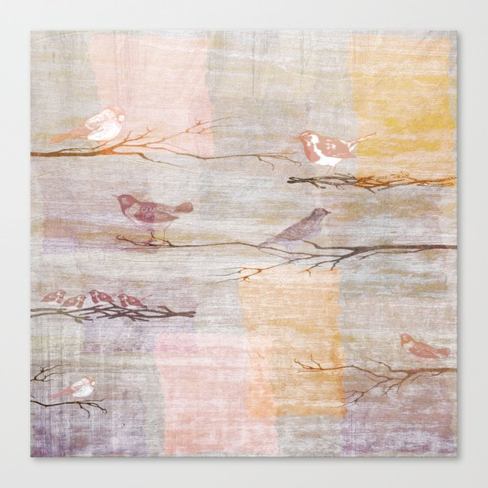 Golden Pink Birds Canvas Print
