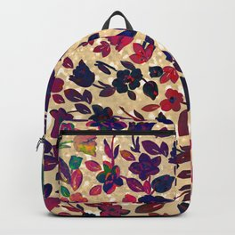 Chic gold glitter navy blue red green gradient floral Backpack