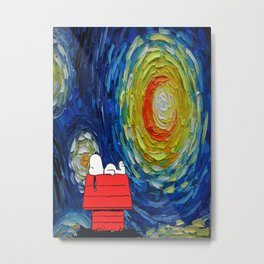 Snoopy Starry Night Metal Print