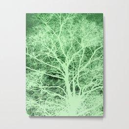 Green tree silhouette Metal Print