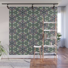 Dusty Meadows - flowery symmetrical pattern - illustration Wall Mural