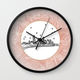 Houston, Texas City Skyline Illustration Drawing Wall Clock