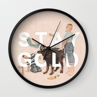 stay gold Wall Clocks featuring Stay Gold by Heather Landis
