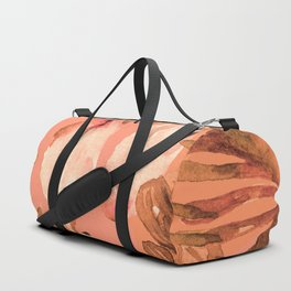 TROPICAL FERNS AND FLOWERS IN SHADES OF coral peach and burnt orange Duffle Bag