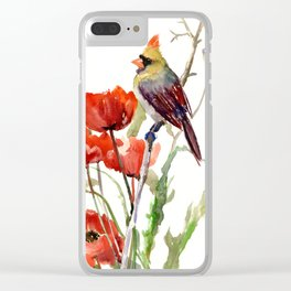 Cardinal Bird And Poppy Flowers Clear iPhone Case
