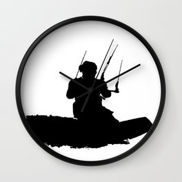 Wakeboarder Kitesurfing Silhouette Wall Clock