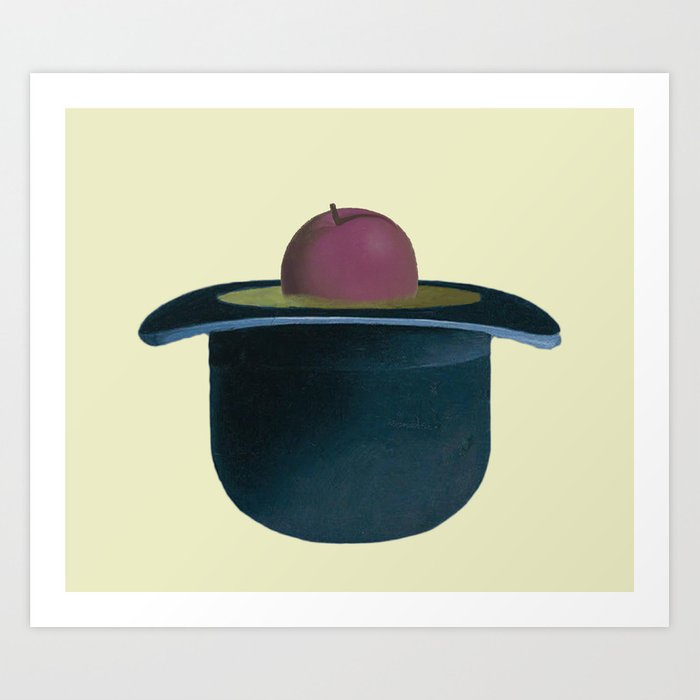 609952f86e3 A single plum floating in perfume served in a man s hat. Art Print ...