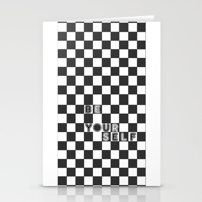 bE yOURsELF in B&W Stationery Cards