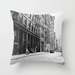 Soho - New York City - Afternoon Light and Cobblestones Throw Pillow