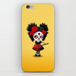 Red and Yellow Big Eyes Sugar Skull Girl Playing the Guitar iPhone Skin