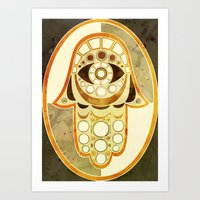 hamsa Art Prints featuring Hamsa by S.G. DeCarlo