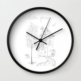 Hello Spring Ink Sketch Drawing Wall Clock