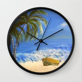 Rocky Weather on the Beach  Oil on Canvas Wall Clock