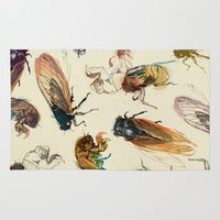 5 seconds of summer Area & Throw Rugs featuring summer cicadas by Teagan White