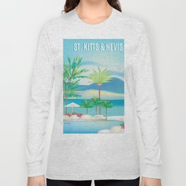 St. Kitts and Nevis - Skyline Illustration by Loose Petals Long Sleeve T-shirt