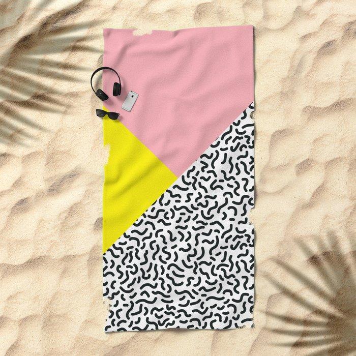Memphis pattern 28 Beach Towel